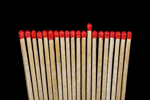 Matchsticks, Match, Wooden Sticks, Sticks, Match Heads
