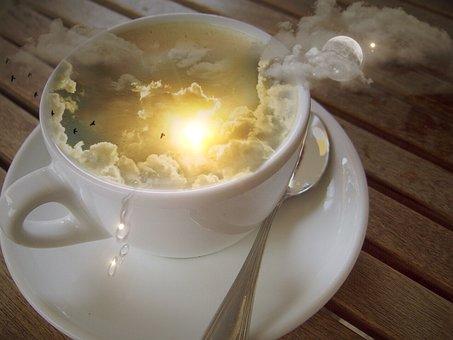Photomontage, Cup, Sky, Clouds, Sun, Moon, Star, Spoon