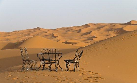 Desert, Daybreak, Morocco, Dunes, Erfou, Camp, Red