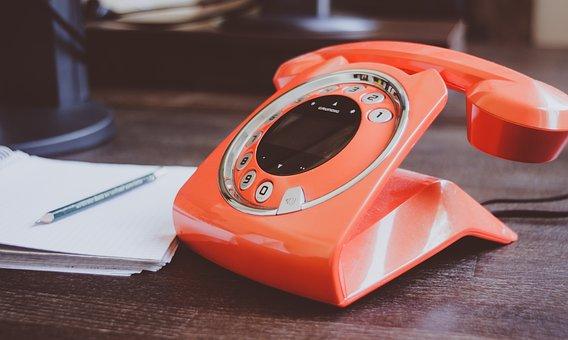 Phone, Desk, Orange, Workplace, Block, Pencil, Office