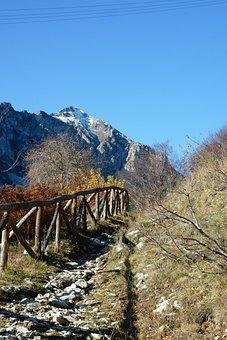 Picket Fence, Snow, Autumn, Trail, Landscape, Mountain