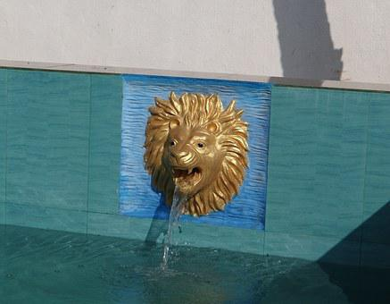 Pool, Fountain, Water, Flowing, Fluid, Pour, Lion Head