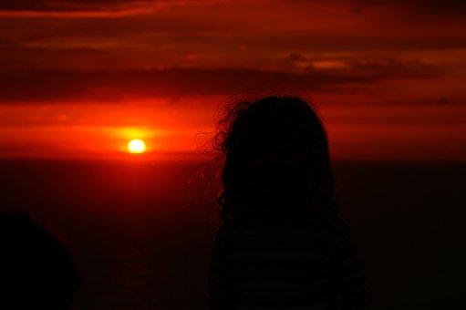 Sunset, Girl, Romantic, Seaside, Ocean, Evening