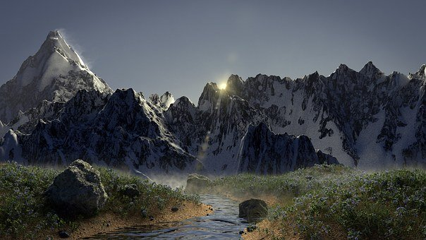 Mountain, River, Sun, Snow, Rocks, Snow Mountain