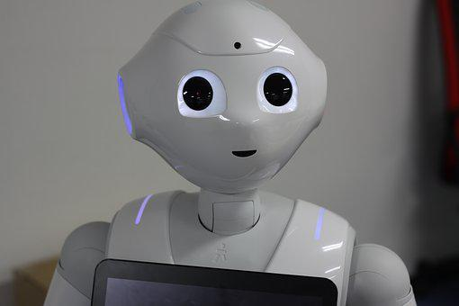 Robot, Softbank, Pepper, Tablet, White, Camera