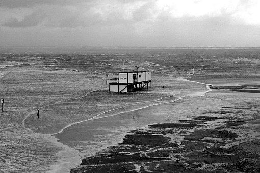 Sturmflut, Blanker Hans, North Sea Coast, Dlrg, Storm