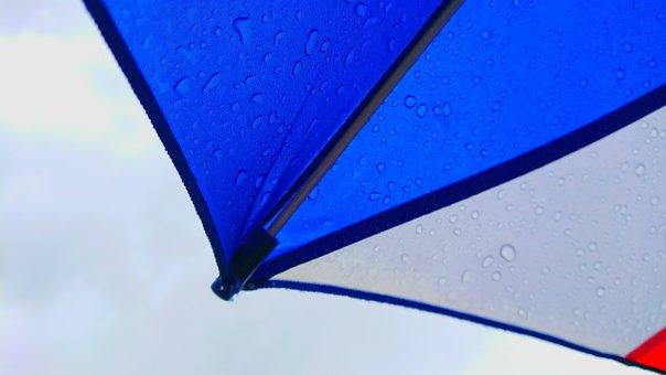 Rain, Cloudy, Umbrella, Shizuku, Drop, Colorful, Blue