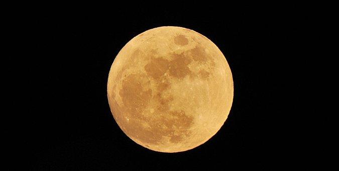 Luna, Full Moon, Night, Sky
