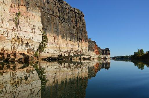 Cliff, Reflection, River, Landscape, Scenic, Rock