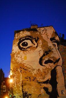 Paris, Les Halles, Châtelet, Monument, Tag, Abstract