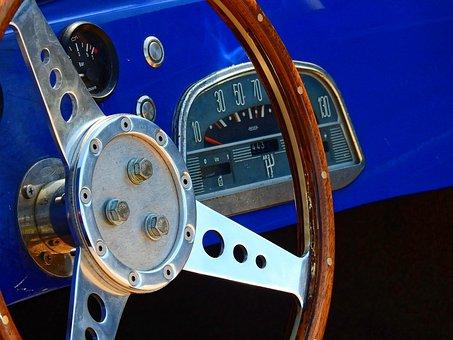 Vehicle, Auto, Steering Wheel, Wood, Old, Antique
