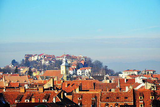 Old Town, A City In Romania, The Roofs Of The Houses