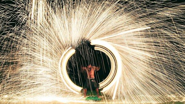 Fire, Koh Samet, Excited, Travel, Holidays