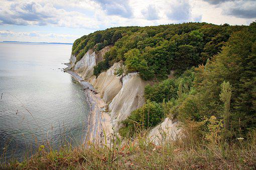 Rügen, White Cliffs, Cliffs, Water, Chalkboard