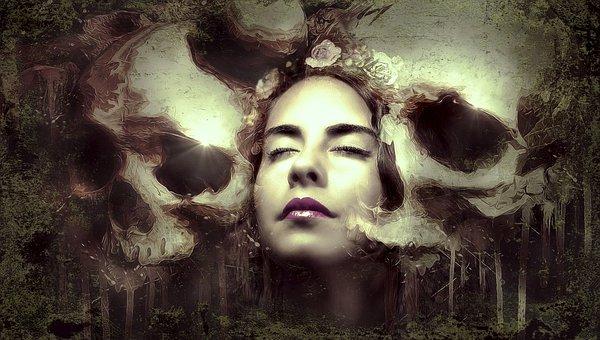 Composing, Woman, Fantasy, Mystical, Photomontage, Dark