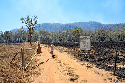 Gate, Burn Off, Fire, Outback, Open