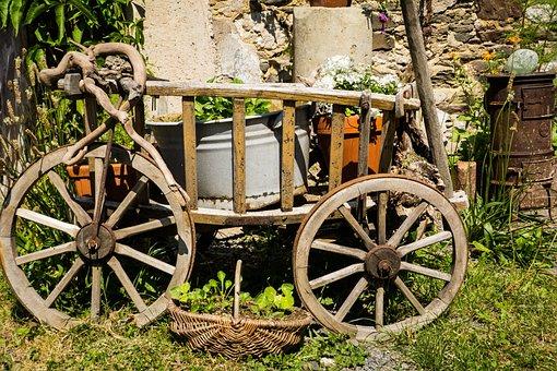 Handcart, Deco, Garden, Wood, Decoration, Nostalgia