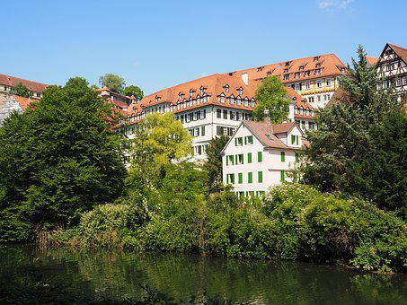 Water, Home, Building, Mirroring, Tübingen, River