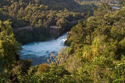 Huka Falls, Waikato River, Bubbling, Gushing, Water