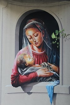 Murals, Madonna With Child, Jesus Child, Madonna