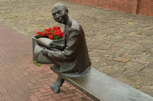 Image, Statue, Man, Bald, Newspaper, Read, Bank, Rest