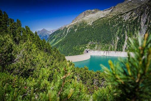 Schlegeis, Reservoir, Ginzling, Zillertal, Tyrol