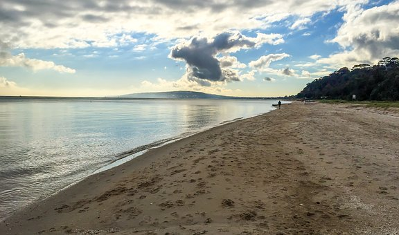 Port Phillip Bay, Bay, Water, Clouds, Sky, Sand