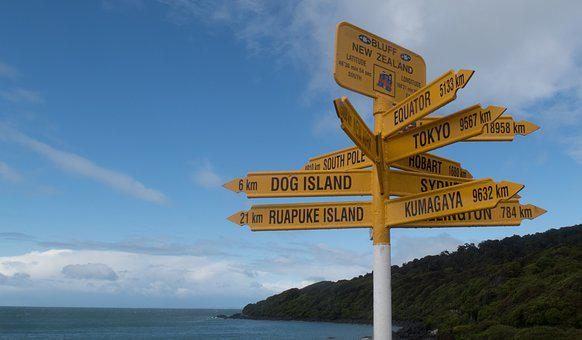 Bluff, South Island, New Zealand, Signs, Yellow Signs