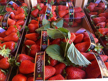 Strawberries, Market, Fruits, Sweet, Delicious