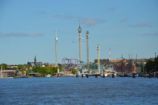 Gröna Lund, Sweden, Stockholm, Sky, Water, Theme Park