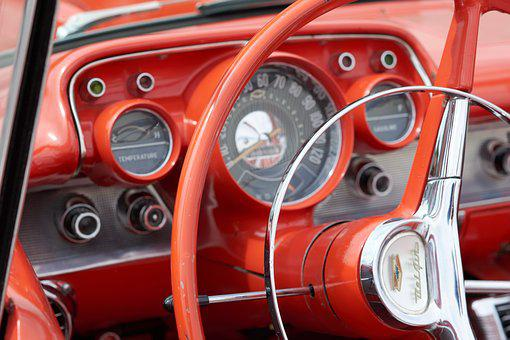 Oldtimer, Red, Classic Car, American Car, Vehicle