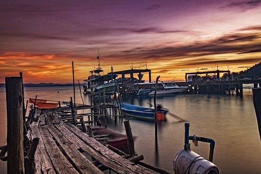 Boat, Seascape, Sunset, Nature, Sky, Landscape, Beach