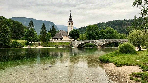 Lake, Slovenia, Mountains, Church, Reflections