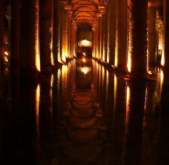 Cave, Columnar, Mirroring, Turkey, Istanbul, Cistern