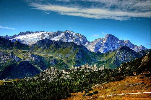 Dolomites, Marmolada, Italy, Mountains, South Tyrol