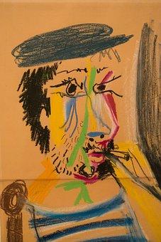 Man, Cigarette, Face, Art, Picasso, Pastel Chalk