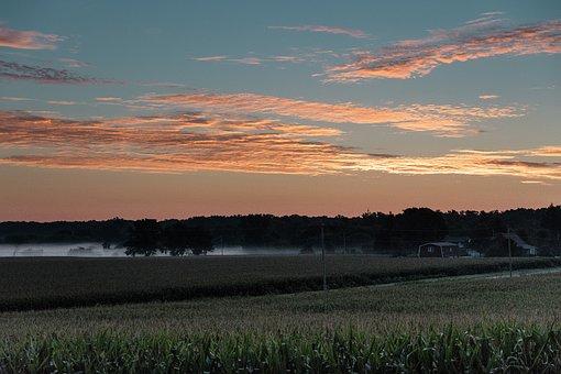 Sunrise, Wisconsin Farm, Field, Farm Field, Scenic