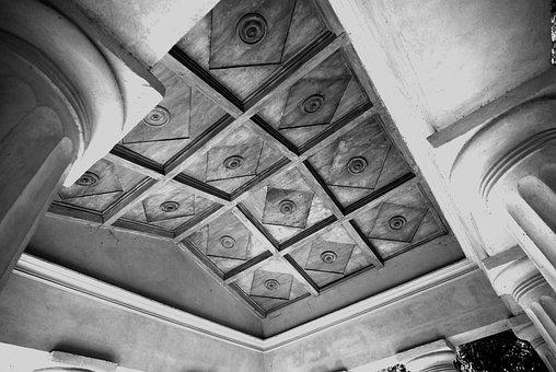 Summer-house, Inlaid Ceiling, Pillar, Monochrome