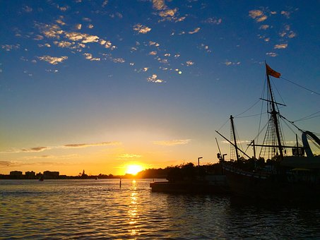 Sunset, Elizabeth Quay, Perth, Australia, Jetty, Boat