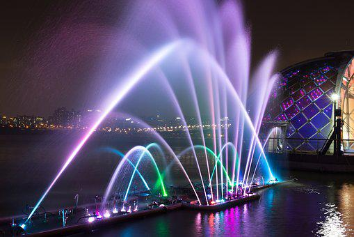 Fountain, Night View, Lighting, A Night View Of Seoul