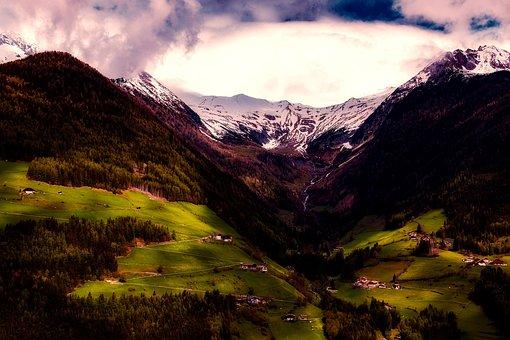 Dolomites, Italy, Mountains, Sunset, Dusk, Valley