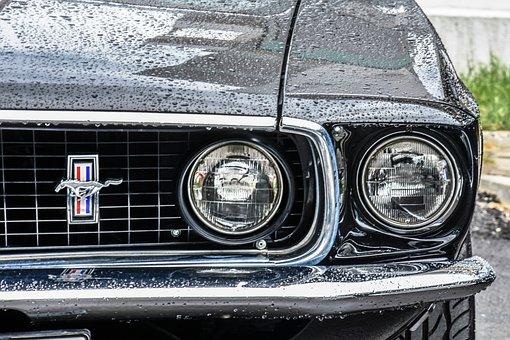 Mustang, Car, Retro, Auto, Automobile, White