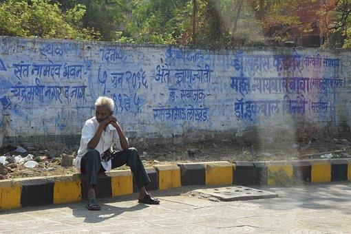 India, Man, Road, Advertising, Male, Old Man, Human