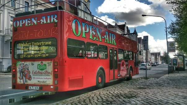 Bus, Double Decker, Open At The Top, Red, Lübeck, City