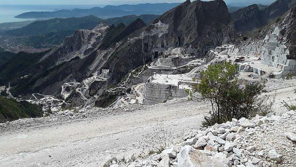 Quarry, Marble, Carrara, Tuscany, Sea, Site