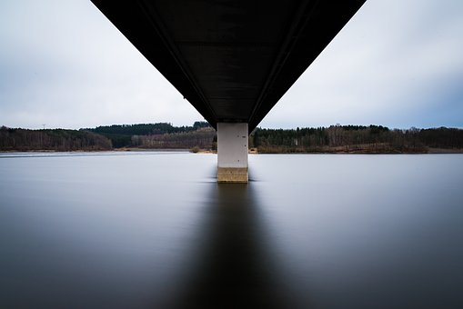Bridge, Reservoir, Water, Winter, Forest