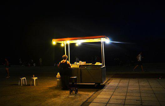 Sales Stand, Shop Assistant, Night, Street Vending
