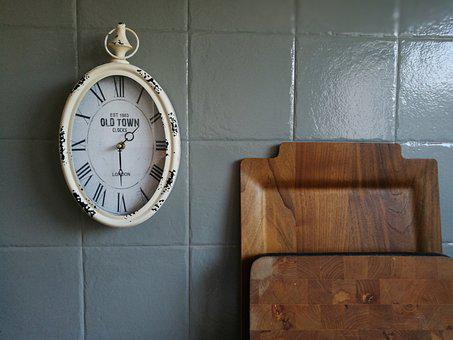 Tray, Time, Clock, Grey, Wood, Kitchen