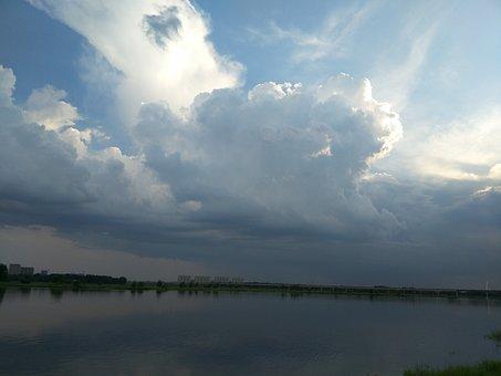 Blue Sky, White Cloud, Jiang, Water, Fresh, Air, River