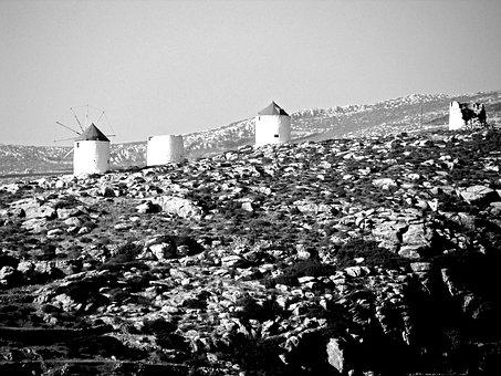 Windmills, Building, Architecture, Amorgos, Cyclades